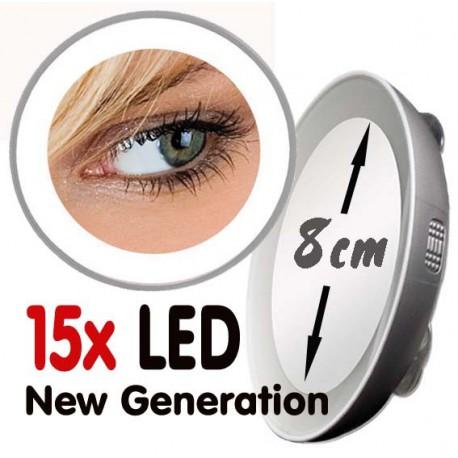 """Petit miroir grossissant 10x ou 15x LED """"Nouvelle Génération"""""""
