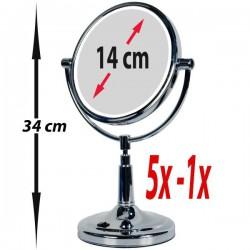 Gran espejo de aumento 1x/5x con pie y LED