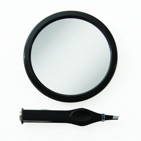 Petit miroir grossissant x12 + pince à épiler LED