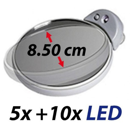 Petit double-miroir grossissant 5x et 10x avec lumière LED